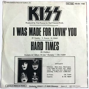 Kiss - I Was Made For Lovin You / Hard Times 7-Inch.
