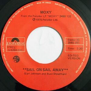 Moxy - Sail On Sail Away / Time To Move On 7-Inch label