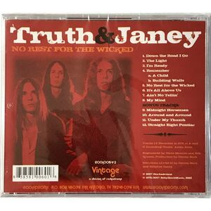 Truth And Janey - No Rest For The Wicked CD ROCK006-V-2